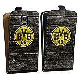 DeinDesign Samsung Galaxy S5 Neo Tasche Hülle Flip Case Borussia Dortmund BVB Holzoptik