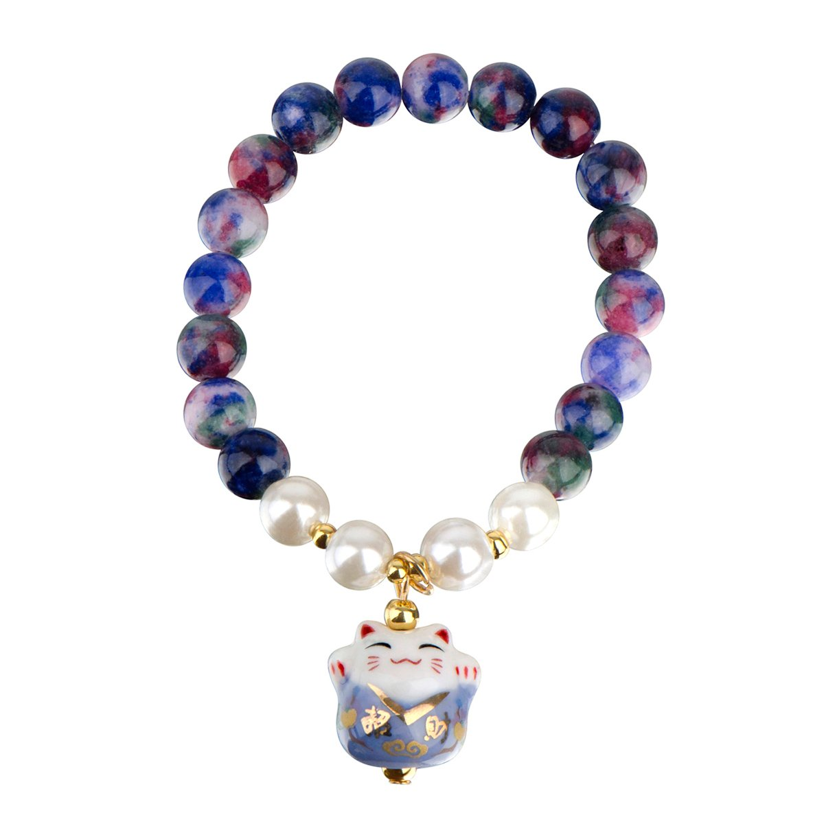 Lucky Cat Ceramic Beaded Friendship Bracelet – Blue & Multicolored