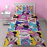 Disney, parure Copripiumino Singola Raffigurante Minnie, Motivo: 'Attitude' con Stampa ripetuta, Multicolore