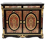 Casa Padrino Barock Boulle Kommode Schwarz/Gold / Rot mit Marmorplatte 125 cm - Möbel Schrank Sideboard