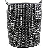 MINISO Plaited Round Storage Bucket (Medium, Dark Grey)