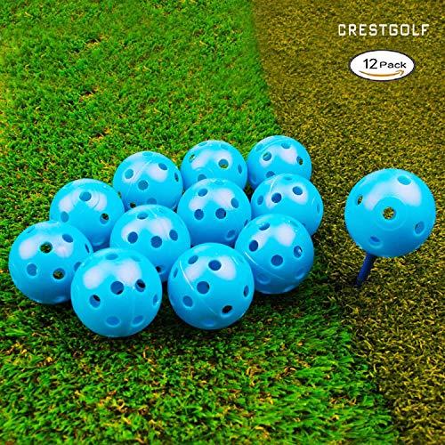 Crestgolf 40mm Blau Kunststoff Airflow Golf-Praxis-Ball, Packung mit 12 Stück