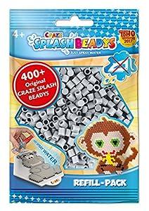CRAZE- Cuentas de fusibles Fuse Splash BEADYS Juego de Recarga Perlas de reemplazo Craft Beads Paquete de Recambio Gris Claro 11935, Color