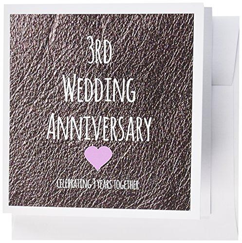 3drose 3. Hochzeitstag Geschenk-Leder 3Jahre zusammen Dritte anniversaries- Grußkarten, 15,2x 15,2cm, Set 6(GC 154430_ 1)