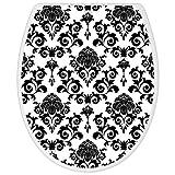 banjado – Design Toilettendeckel WC Sitz Brille 36m x 5cm x 45cm mit Motiv Barock, Toilettendeckel:Weiß - 2