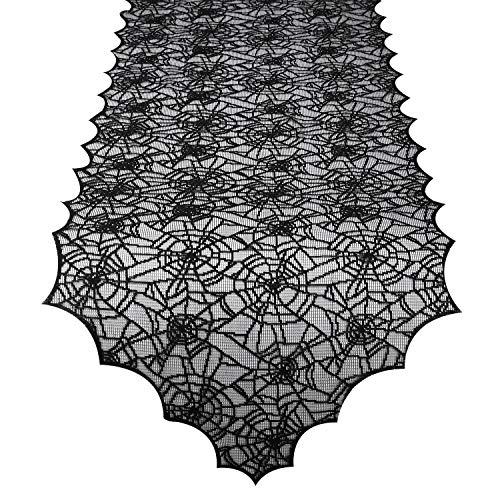Dekorativer Kamin (Lewondr Fransen Dreieck Rand Multifunktionale Tischdecke, Halloween Spinnennetz Muster Tischdecke, Spitzen Quaste Trim Dekorative Tischplatte Kamin Fenster Tuch für Dinner Party Küche - Schwarz)
