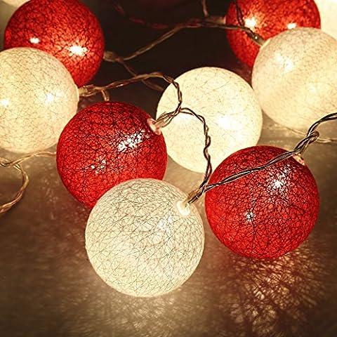 Finether LED Lampion 20 Guirlande Lumineuse Eclairage Décoratif Intérieur Balcon pour Party Mariage Noël Avec Balles Boules 2.2 m Blanc Chaud et Boules