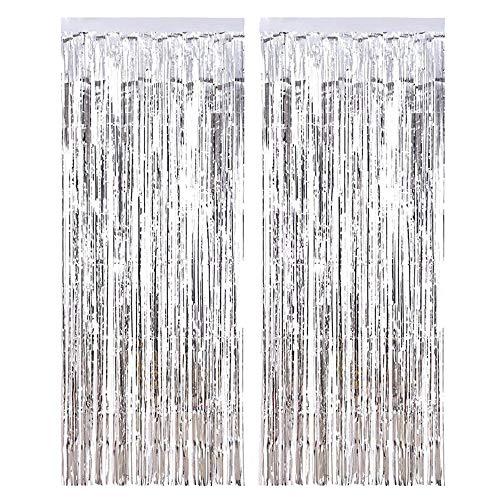 Yiqiane Fransenvorhänge Metallfolie Schimmer Silber Lametta Vorhang Tür Fenster Dekoration für Geburtstag Hochzeit Party Supplies 3 x 8 Füße, 2 Packs
