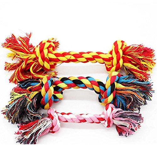 CAOQAO Hund Seil Spielzeug Haustier Knitting Seil Kauen Spielzeug Teaser Candy Farbe, Durable Baumwollseil Kauen Spielzeug Für Zahnreinigung Gesundheit, Für Hunde Mittel und Klein (4 Stücke) (Spielzeug Ausgestopften Hund Die)