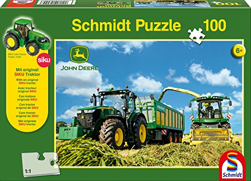Schmidt Spiele 56044 John Deere, 7310R mit 8600i Feldhäcksler, 100 Teile Puzzle, mit Siku Traktor