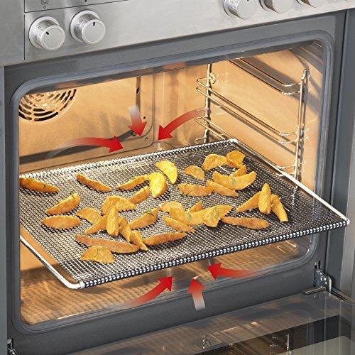 GOURMETmaxx Backofengitter | Grillgitter, Grillblech, Grillrost, Backform, Pizzablech für fettarmes Heißluft-Garen im Ofen (Backgitter)