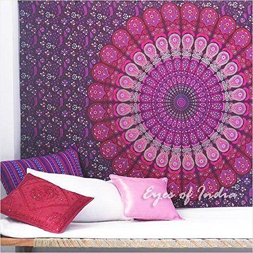 Lila Einzelbett (Eyes of India - Einzelbett Elefanten Mandala Wandbehang Kunst Wandbehang Picknick Böhmisches Indian Boho dekorativ - lila #1, 54 X 84 in. (137 X 213 cm))