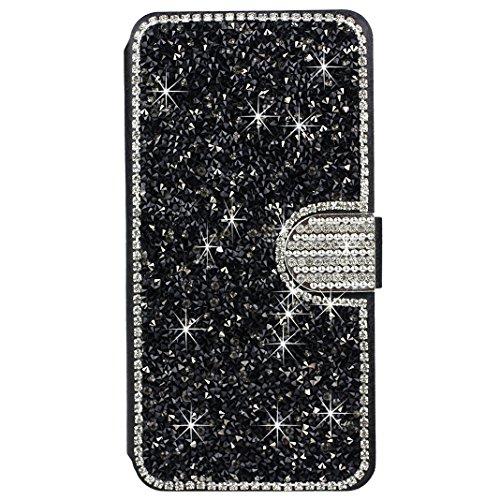Housse iPhone 6 Plus Cuir Coque avec Bowknot Glitter Rhinestone, Etui iPhone 6S Plus Folio Case, Moon mood® Bling Cristal Etui en PU Cuir pour Apple iPhone 6 Plus 5.5 pouces Telephone Portable Housse  Noir