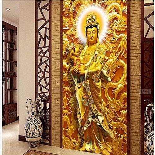 Sproud Benutzerdefinierte hat jemals Barmherzigen Bodhisattva Guanyin Fernseher Sofa Hintergrund Wandbild Tapeten über ökologische Perspektive 300 cmX 210 (Braun Schaumstoff Hat Kind)