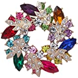 Yazilind Noble Crystal Gold Plated Flower Bouquet Ladies Brooch Pin