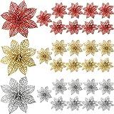 Sumind 30 Pezzi Glitter Poinsezia Fiori Albero di Natale Ornamenti Vacanze Matrimonio Decorazioni con Clip Metallica (Oro, Argento e Rosso)