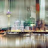 Artland Qualitätsbilder | Glasbild Wandbild Glas Bild 50 x 50 cm Abstrakte Collage Düsseldorf Skyline A7ZX