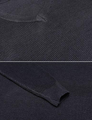 Beyove Damen Pullover Sweatshirt Strickpulli mit V-Ausschnitt Loose Oversize Tops Winter Grau