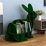 SKAFA Book Shelf Bookcase Space-Saving Portable Rabbit Appearance Storage Shelf, Books Holder for Home Decor and Office (Gree