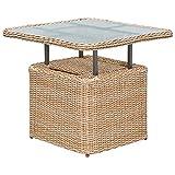 Loungetisch VENETO 72x72cm, Stahl + Polyrattan natur, höhenverstellbar, Tischplatte Glas