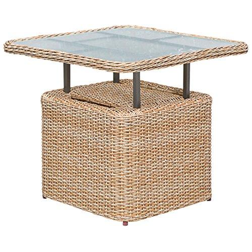 gartenmoebel-einkauf Loungetisch Veneto 72x72cm, Stahl + Polyrattan Natur, höhenverstellbar, Tischplatte Glas -