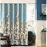 Moolecole Más grueso Impermeable Resistente al moho Cortina para ducha Poliéster Magnolia Blanca 180 x 180 cm