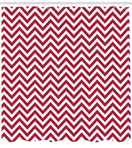 Nyngei Chevron Duschvorhang Klassischen Stil Zick-Zack-Streifen Retro Revival Muster mit Simplistic Design Stoff Badezimmer Dekor Set mitDunkle Koralle (Koralle Chevron Duschvorhang)