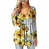 heekpek Maglietta Donna Manica Lunga Bluse Camicia Floreale Sciolto V Collo Bottone Pieghettata Tunica Tops T Shirt Tuniche
