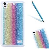 "Huawei Ascend G620S Funda, Huawei Ascend G620S Carcasa Suave TPU CLTPY Bling Glitter Sparkle Caja Protectora Parachoques Transparente Cubrir Back Resistente a los arañazos Case para el 5.0"" Huawei Ascend G620S + 1 x Aguja - Arco Iris Vertical"