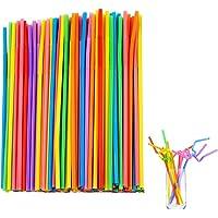 Pppby 100PCS Pailles en Plastique Pailles à Boire Réutilisable Légère Non Toxique pour Café Leau Jus de Fruits Boissons…