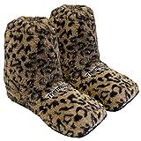 Hot Sox - Zapatillas térmicas, calentables en microondas en el horno, talla única M 36-40 - leopardo