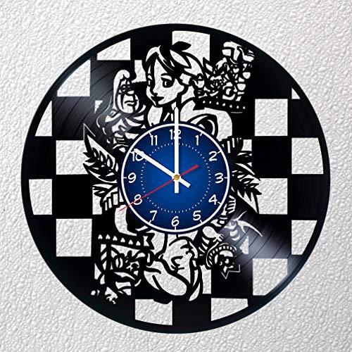 Alice's Adventures im Wunderland 12 Zoll / 30 cm Disney Schallplatte Wanduhr - Disney Fan Geschenk - Musikuhr - Kinderzimmer Deko Idee Home Art Party - Alice im Wunderland Grinsekatze