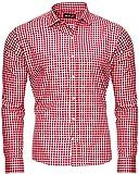 Reslad Herren Hemd Jungen Karos Wiesen Hemd Tailliert Bügelleichtes Hemd Modische Hemden für Wiesn Festlich RS-7007 Rot M