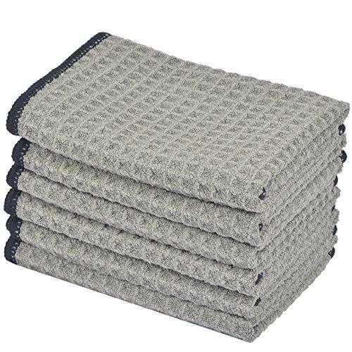 KinHwa Mikrofaser-Reinigungstücher Super Weiche Reinigungstücher Waschbar Saugstark Umweltfreundlich Reißfest Mikrofasertücher 30CM x 30CM 6 Stück Grau