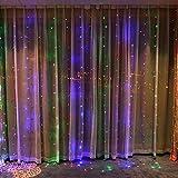 JAYLONG 3 * 3 M 300 Led Rideau Icicle Chaîne Lumières Fées Lumières De Noël Lampes De Noël Décoration De Fête De Mariage Pour Chambre Salon Lit,RGB