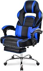 Merax® Schreibtischstuhl Bürostuhl Gaming Stuhl Computerdstuhl Chefsessel mit höhenverstellbarer Rücklehne, Fußstütze und Lendenkissen, Wippkunktion, Ergonomische Liege Design