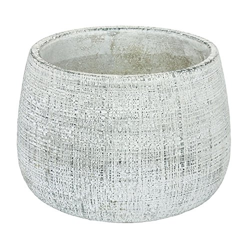 Keramik Blumentopf H 16,5 cm grau gekratzt Übertopf Keramiktopf rund 3D matt