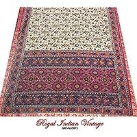 paisley stampato annata sari tenda misto seta drappo usato 5YD donne indiane avvolgere da cucire marrone decorazioni per la casa vestito sarong materiale riciclato tessuto artigianale