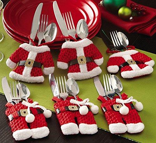 KTLShop Set of 6 Santa Suit Christmas Cutlery Silverware Holder Pockets Decorations
