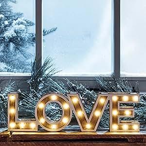 mot d coratif love lumineux led en bois piles par lights4fun cuisine maison. Black Bedroom Furniture Sets. Home Design Ideas