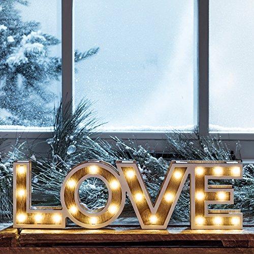 Mot Décoratif « LOVE » Lumineux LED en Bois à Piles par Lights4fun