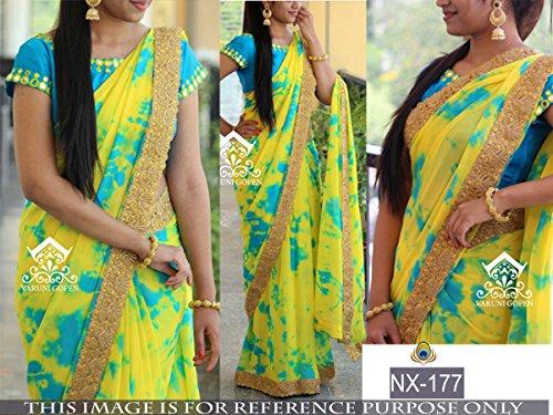 Sarees ( Yellow Color SIBORI PRINT GEORGET,BENGLORI SILK Fabric Heavy Work Saree,...