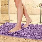 tidetex Simple sólido chenilla alfombra de baño ducha alfombra 100% algodón baño alfombra alfombrillas Popular Multi Color zona alfombra Cozy mesilla de noche/dormitorio alfombra Felpudo alfombra, Chenilla, Morado, 50cmx80cm
