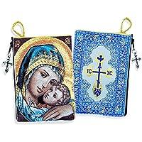 Bendición dulce beso Virgen y el niño Rosario de gamuza de Icon diseño cremallera ...
