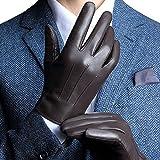 Harrms Herren Winter Handschuhe Echt Leder mit Touchscreen Gefüttert aus Kaschmir Lederhandschuhe Warm