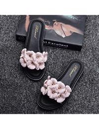 Cool zapatillas mujer Xia Jiping con una palabra de arrastre de fondo plano de plástico transparente, vistiendo zapatillas antideslizante negro,40