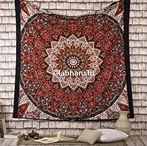 Psychedelic Mandala Tapestries Hippie Droplet Style Wall Hanging Indian Throw Picnic Beach Sheet Bohemian Star Mandala Bedspread Traditional Boho Tapestry by Labhanshi