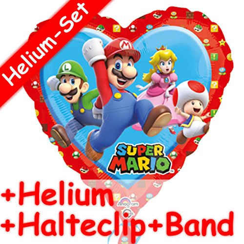 UPER MARIO * + HELIUM FÜLLUNG + HALTE CLIP + BAND * // Aufgeblasen mit Ballongas // Deko Geburtstag Folien Ballon Luftballon Luigi Peach Toad Herz ()