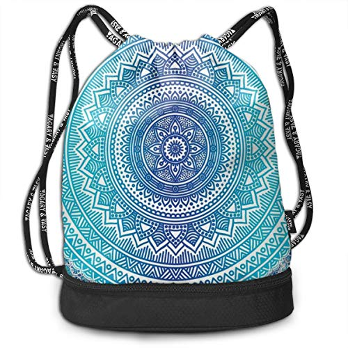 LULABE Printed Drawstring Backpacks Bags,Spiritual Ritual Symbol of Universe Cultural Center Point Balance Meditation Theme,Adjustable String Closure