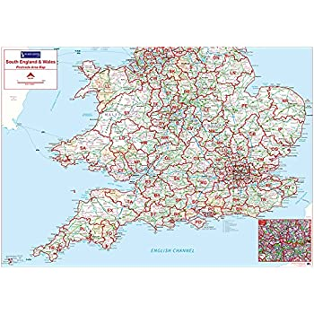 Map Of The East Of England.Postcode Area Map 4 Southern England Wales Standard Matte Paper